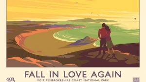 FALL IN LOVE AGAIN retro railway poster