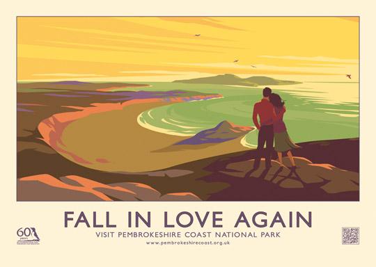 FALL IN LOVE AGAIN retro railway poster