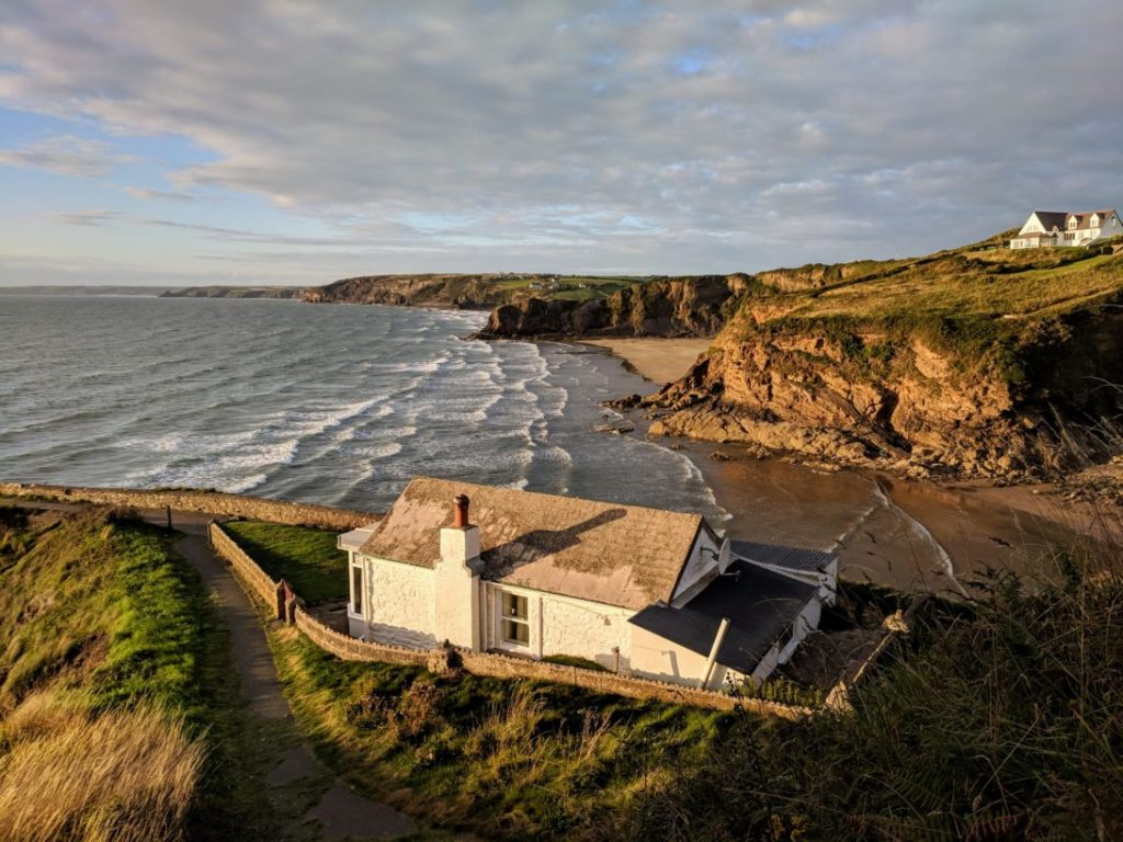 Aerial photograph showing house on the coast.