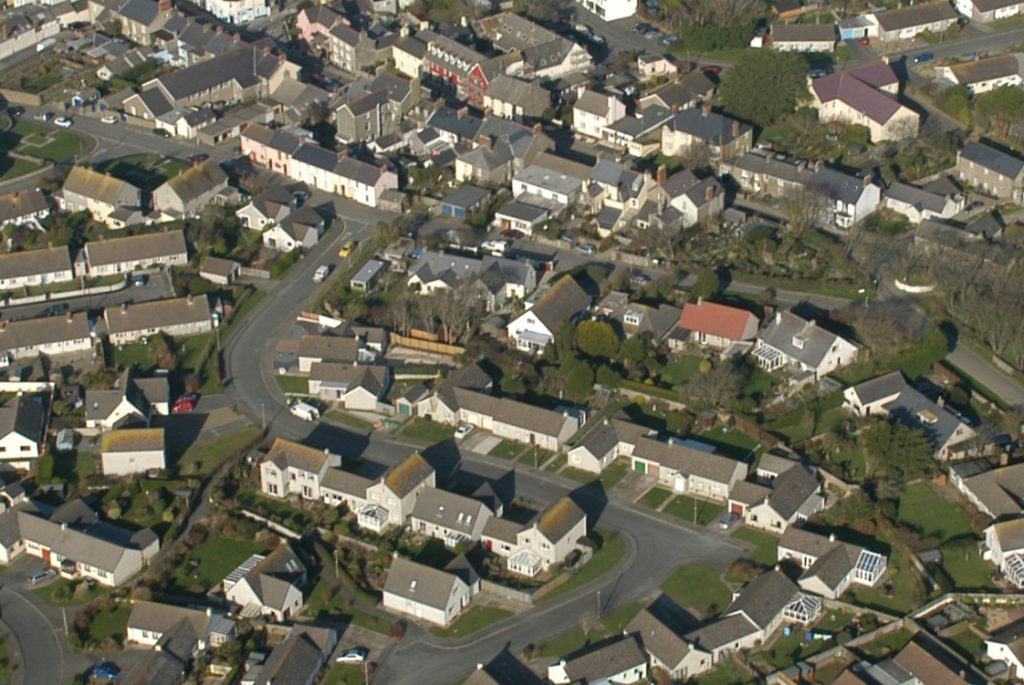Aerial photograph featuring houses in St Davids, Pembrokeshire