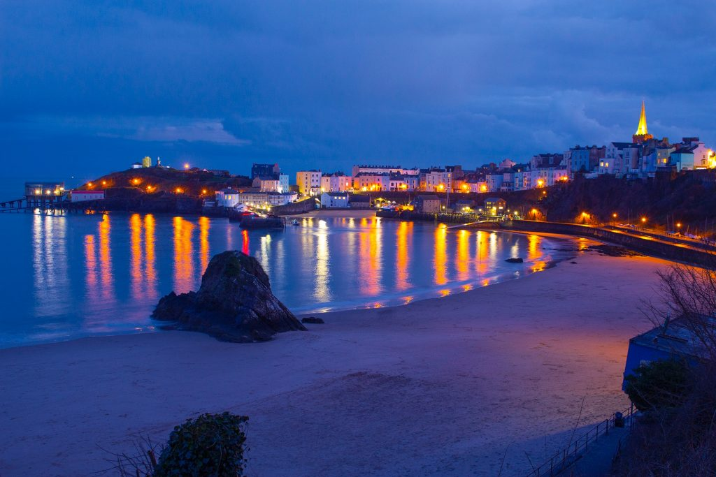 Seaside town of Tenby viewed at night
