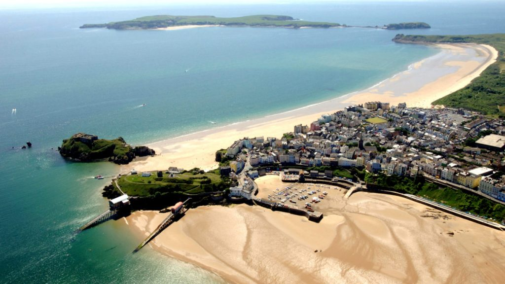 Aerial photograph of Tenby and Caldey Island