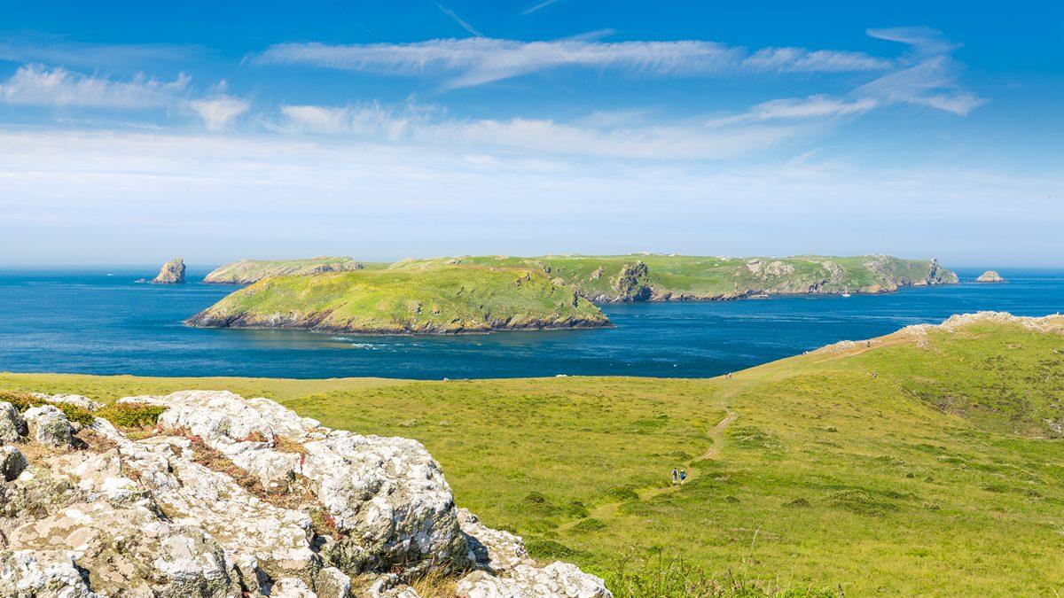 Skomer Island from the mainland, Pembrokeshire, Wales, UK