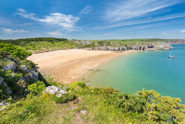 Barafundle Bay beach in the Pembrokeshire Coast National Park