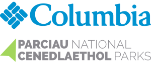 Columbia Sportswear and National Parks UK bilingual logos