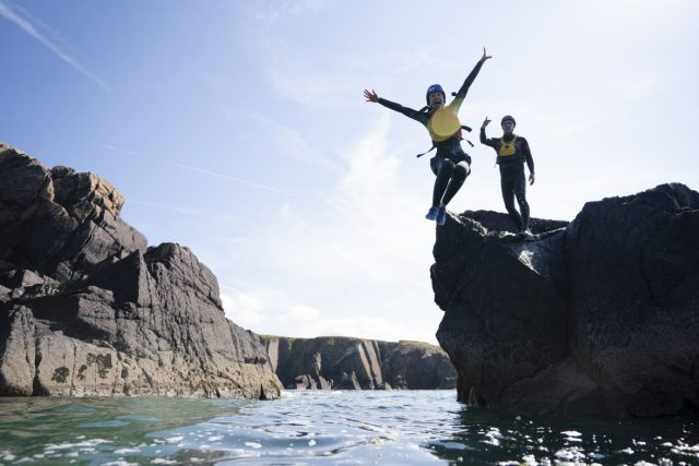 Coasteering at Porth Clais