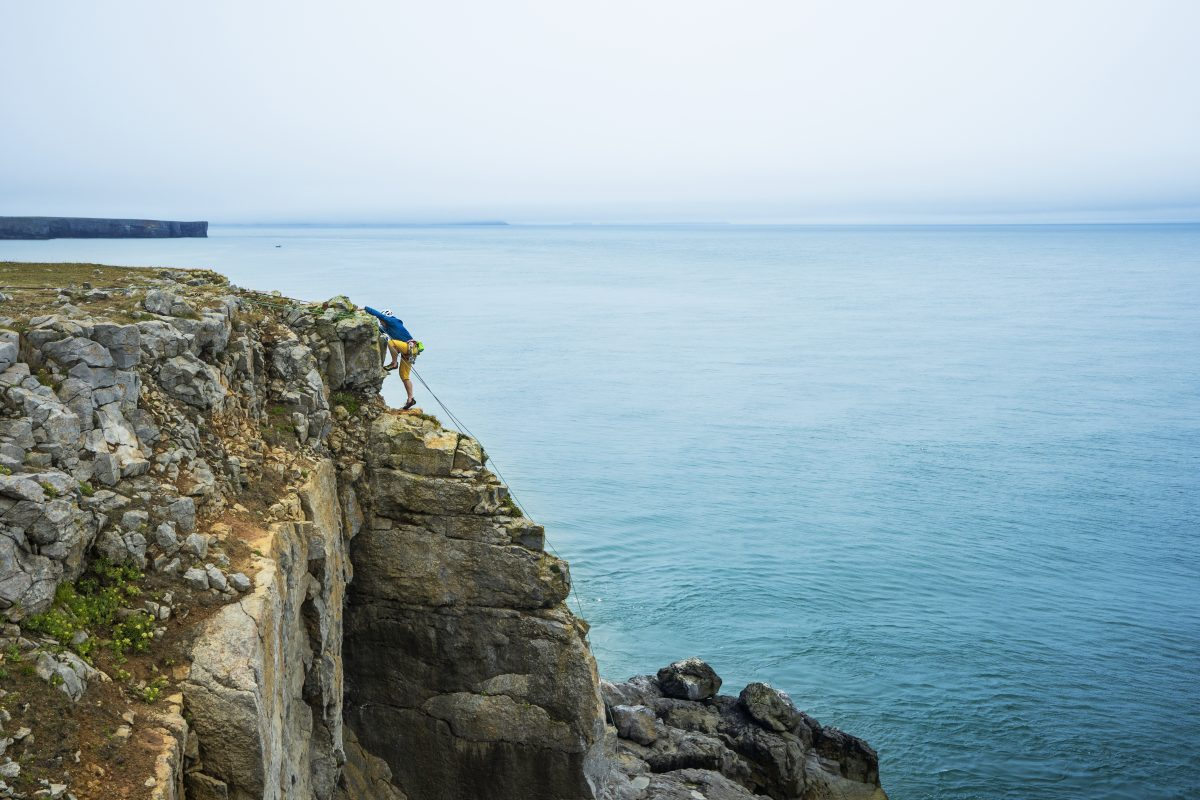 Climbing at St Govan's in the Pembrokeshire Coast National Park