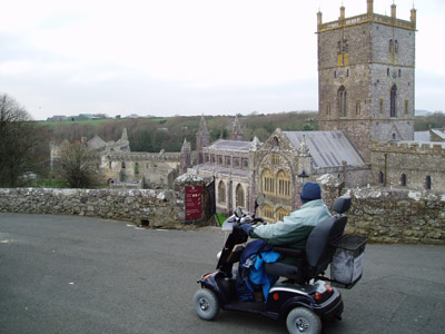 Viewing St Davids Cathedral with a mobility scooter