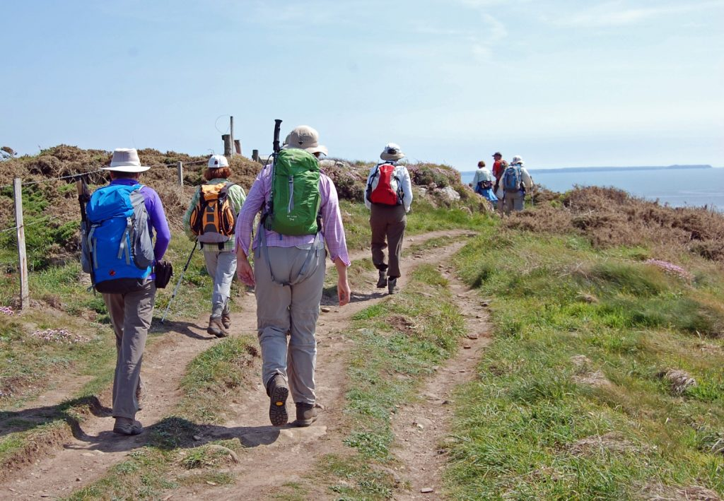 Group of walkers on St Davids Head