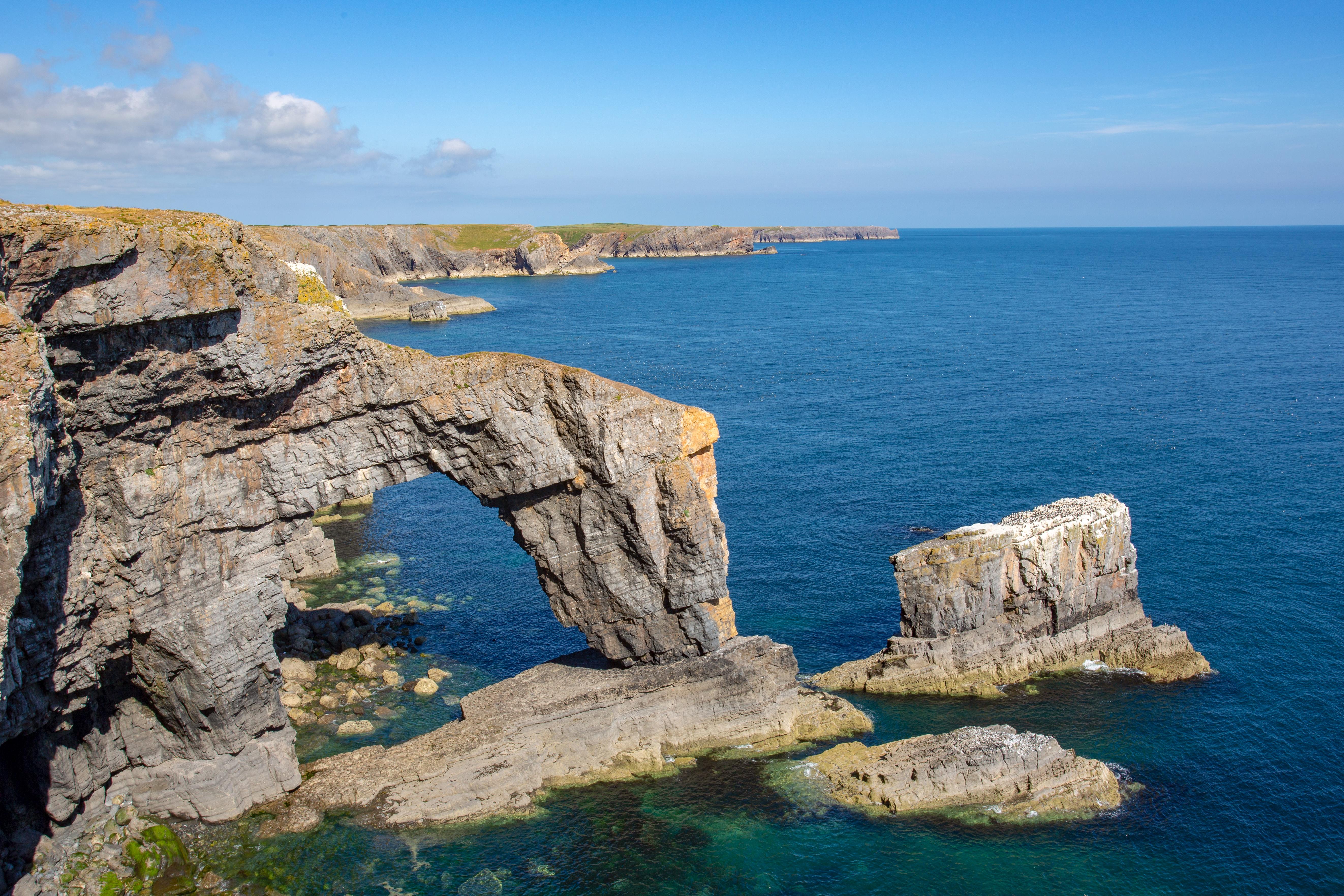 Limestone sea rach known as the Green Bridge of Wales at Castlemartin Firing Range,