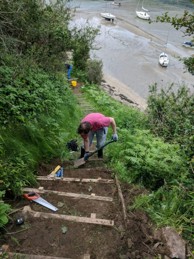 Pathways volunteers installing steps at Solva Harbour, Pembrokeshire Coast National Park, Wales, UK