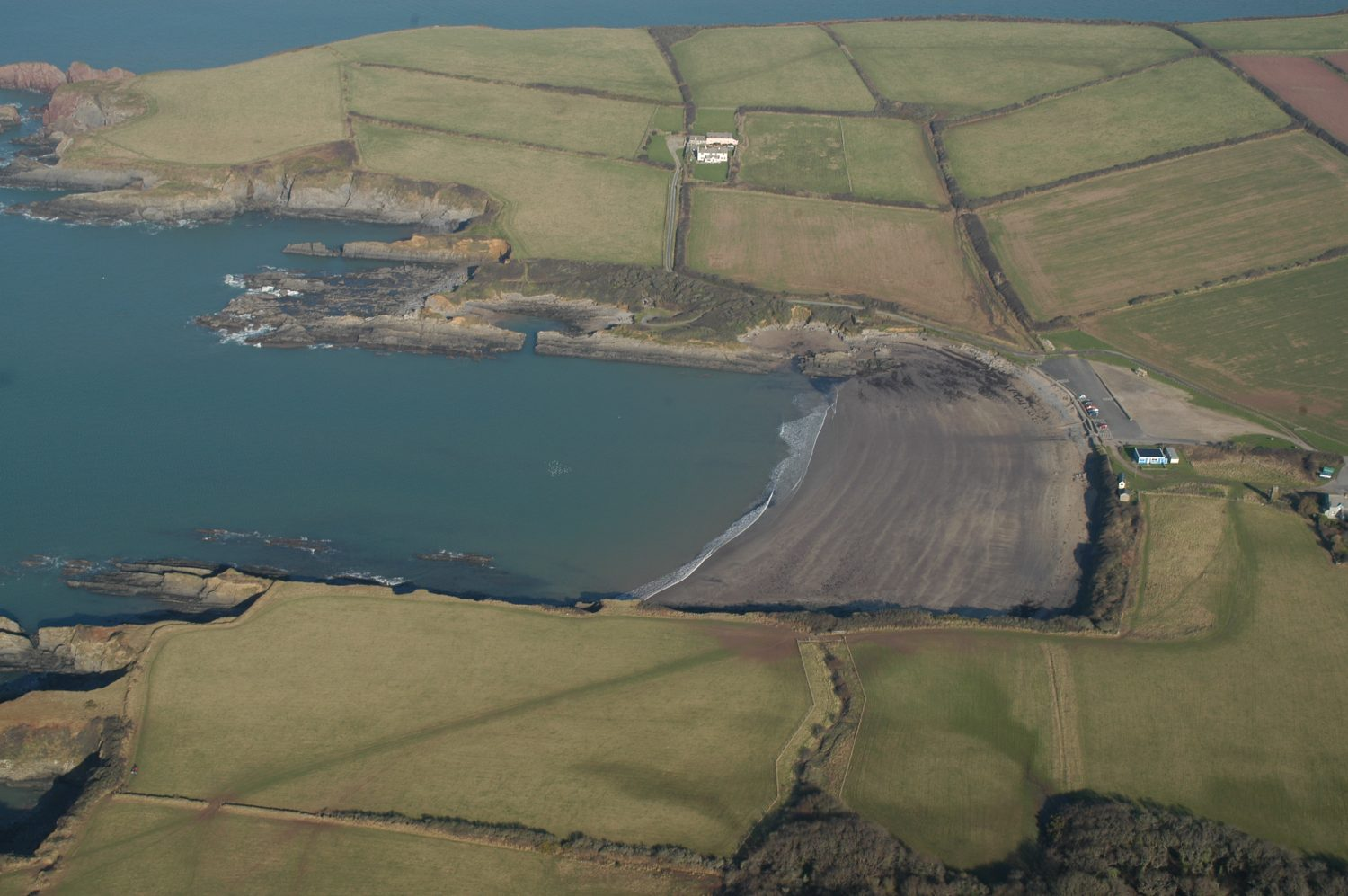 Aerial photograph of West Angle Bay, Pembrokeshire, Wales, UK