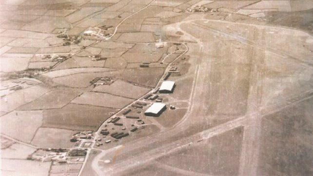 Historical Black and white image of St Davids Airfield, Pembrokeshire, Wales, UK