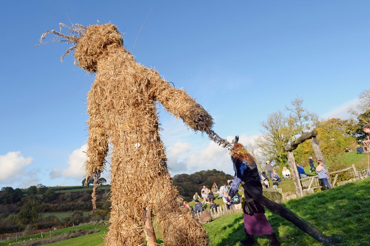 Wicker man at Castell Henllys Iron Age Village, Pembrokeshire Coast National Park, Wales, Uk