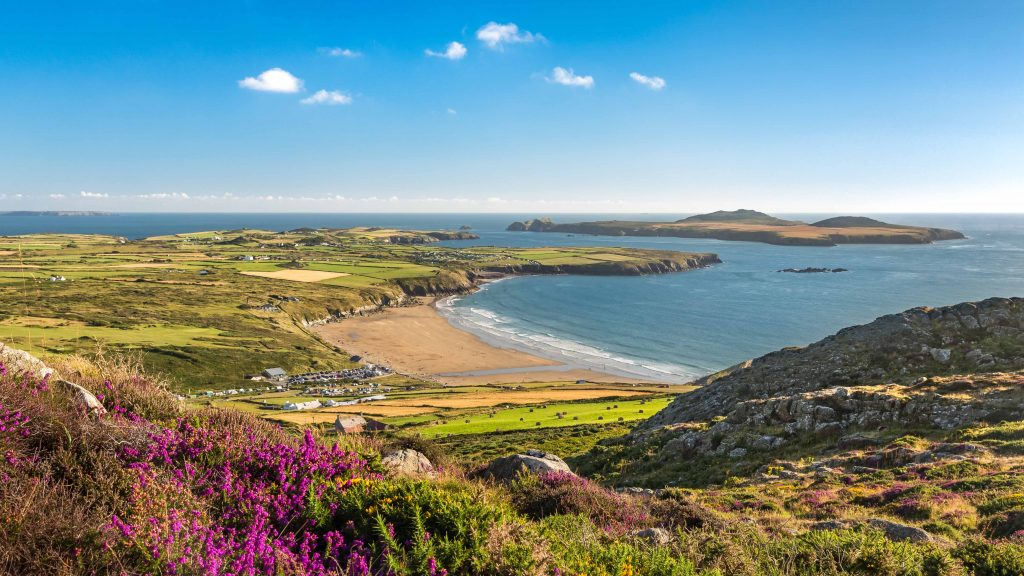 View across Whitesands Bay to Ramsey Island to Carn Llidi, Pembrokeshire Coast National Park, Wales, UK