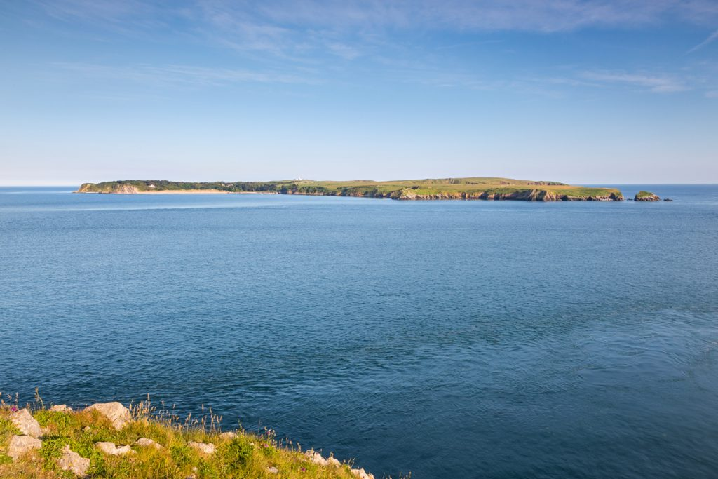 Caldey Island from the mainland at Penally, Pembrokeshire Coast National Park, Wales, UK