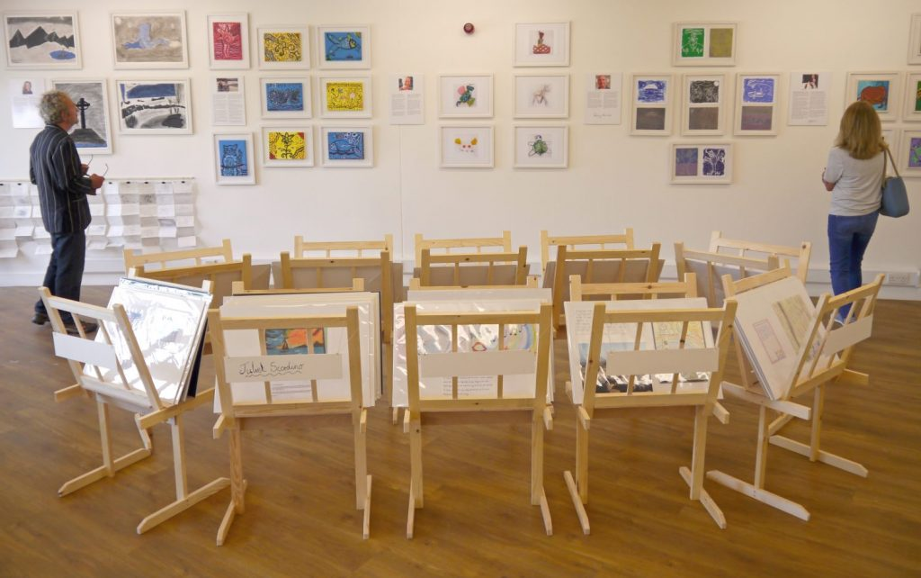Exhibition in the St Davids Room at Oriel y Parc Gallery and Visitor Centre in St Davids, Pembrokeshire Coast Naitonal Park, Wales, UK