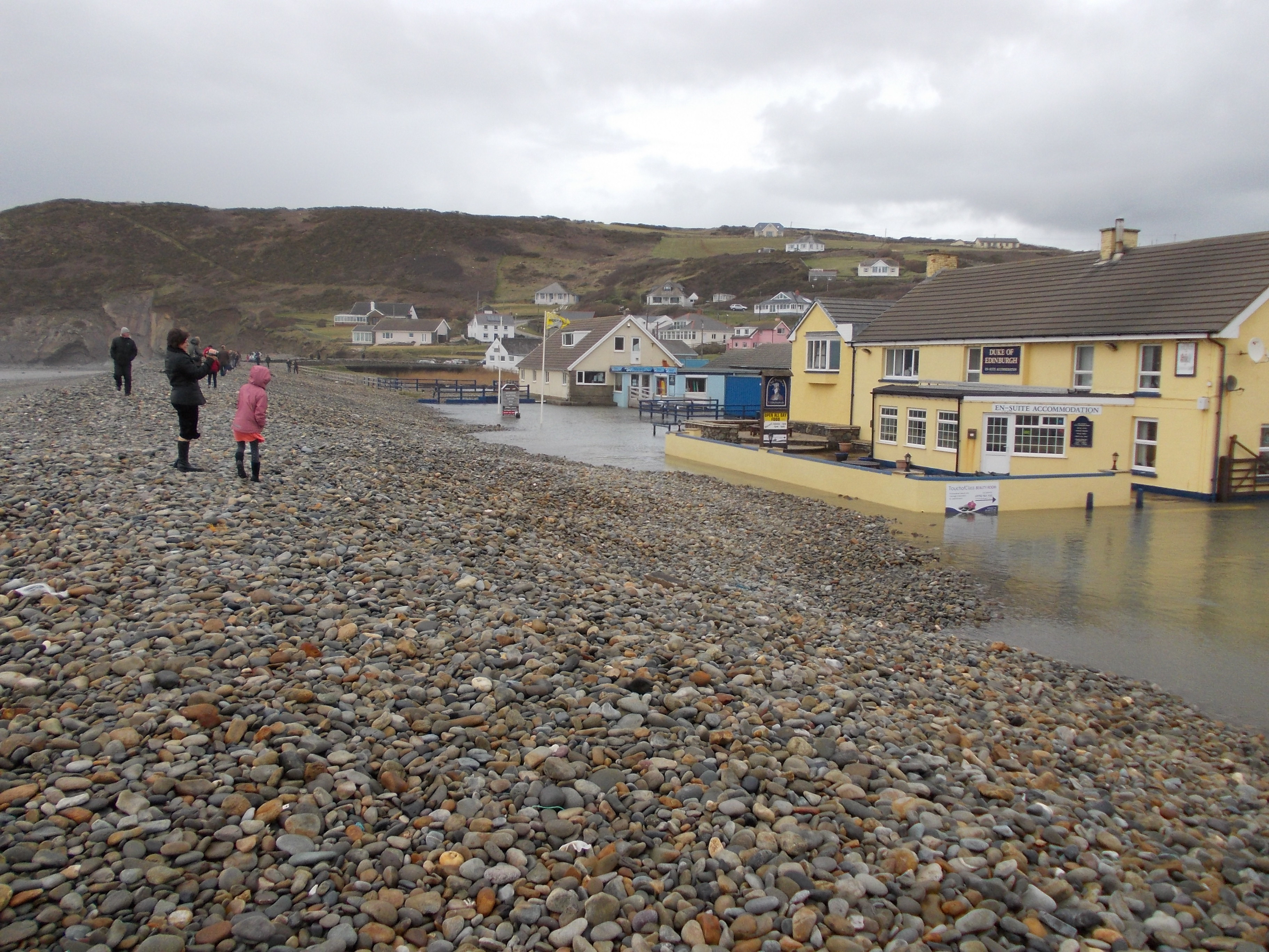 Flooding at Newgale in 2014