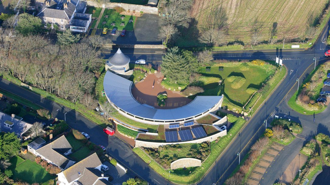 Aerial image of Oriel y Parc Gallery and Visitor Centre, St Davids, Pembrokeshire Coast National Park, Wales, UK