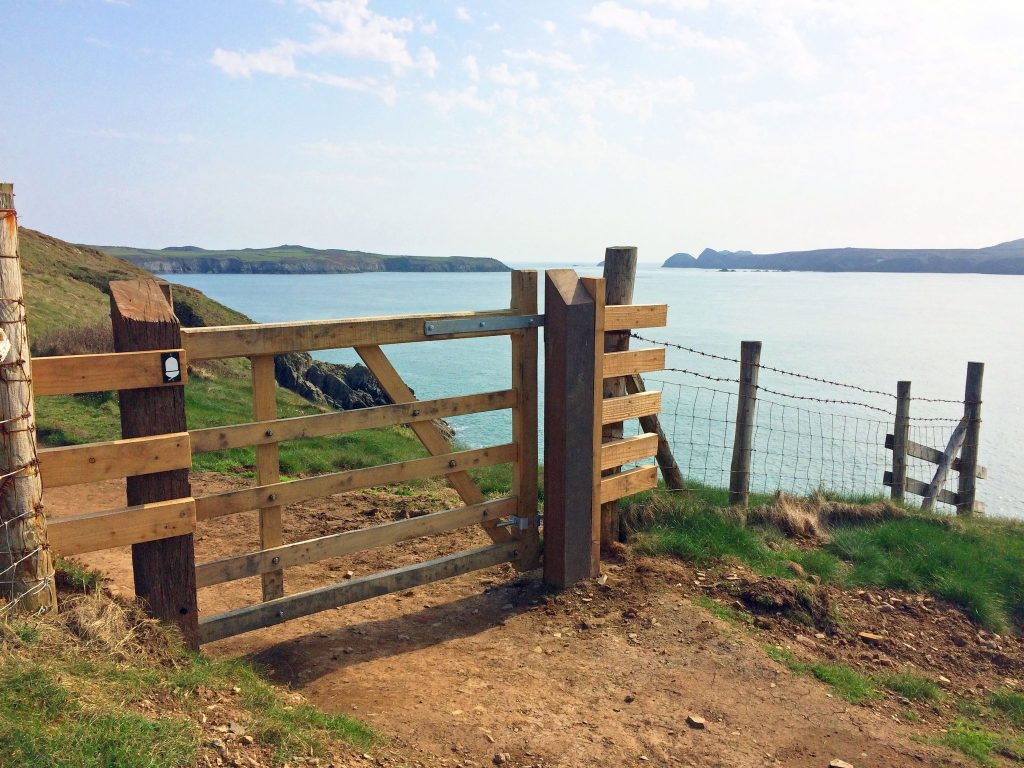 Coast Path gate , Pembrokeshire Coast National Park, Wales, UK