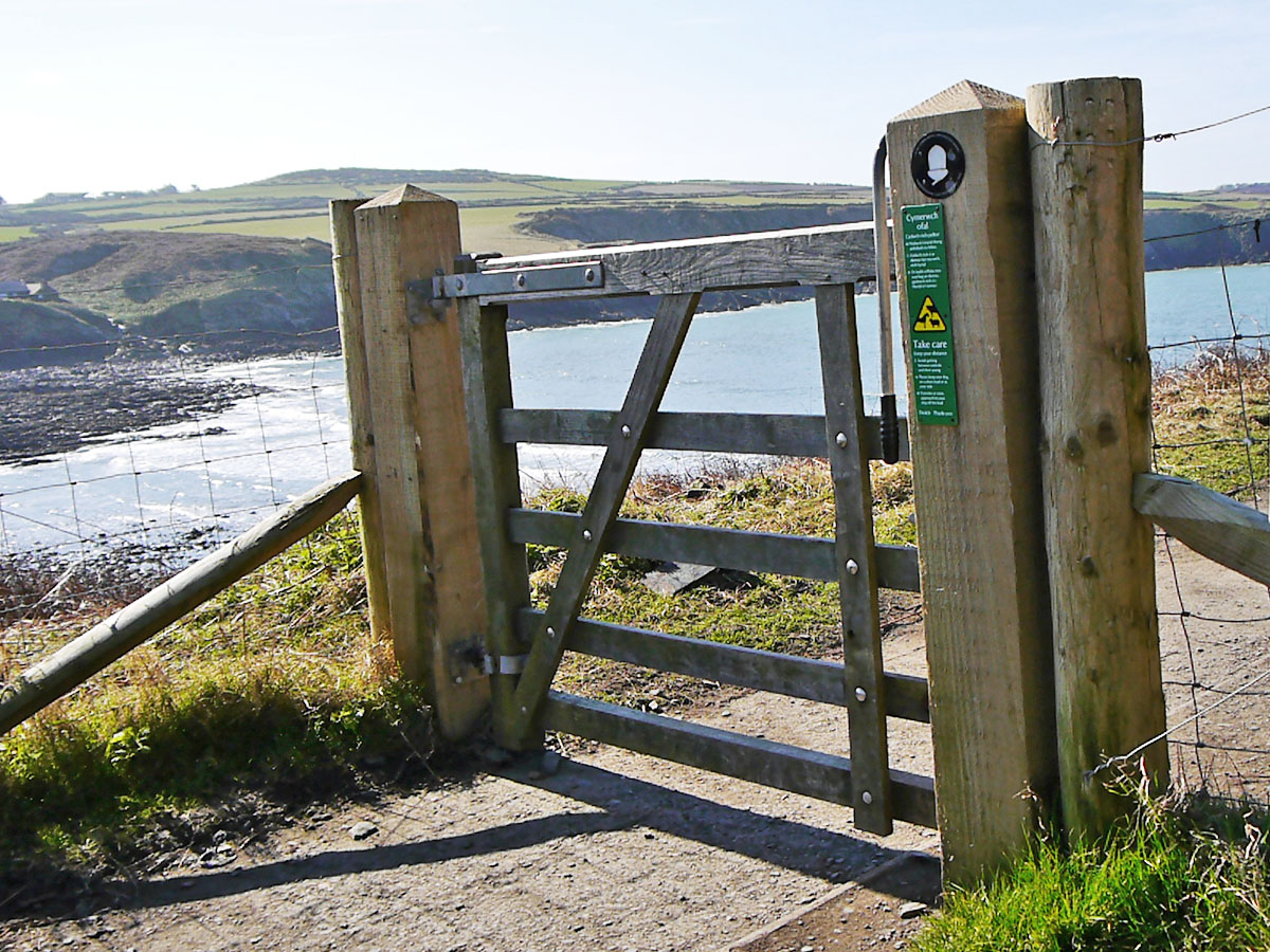 Coast Path gate at Abereiddi, Pembrokeshire Coast National Park, Wales, UK