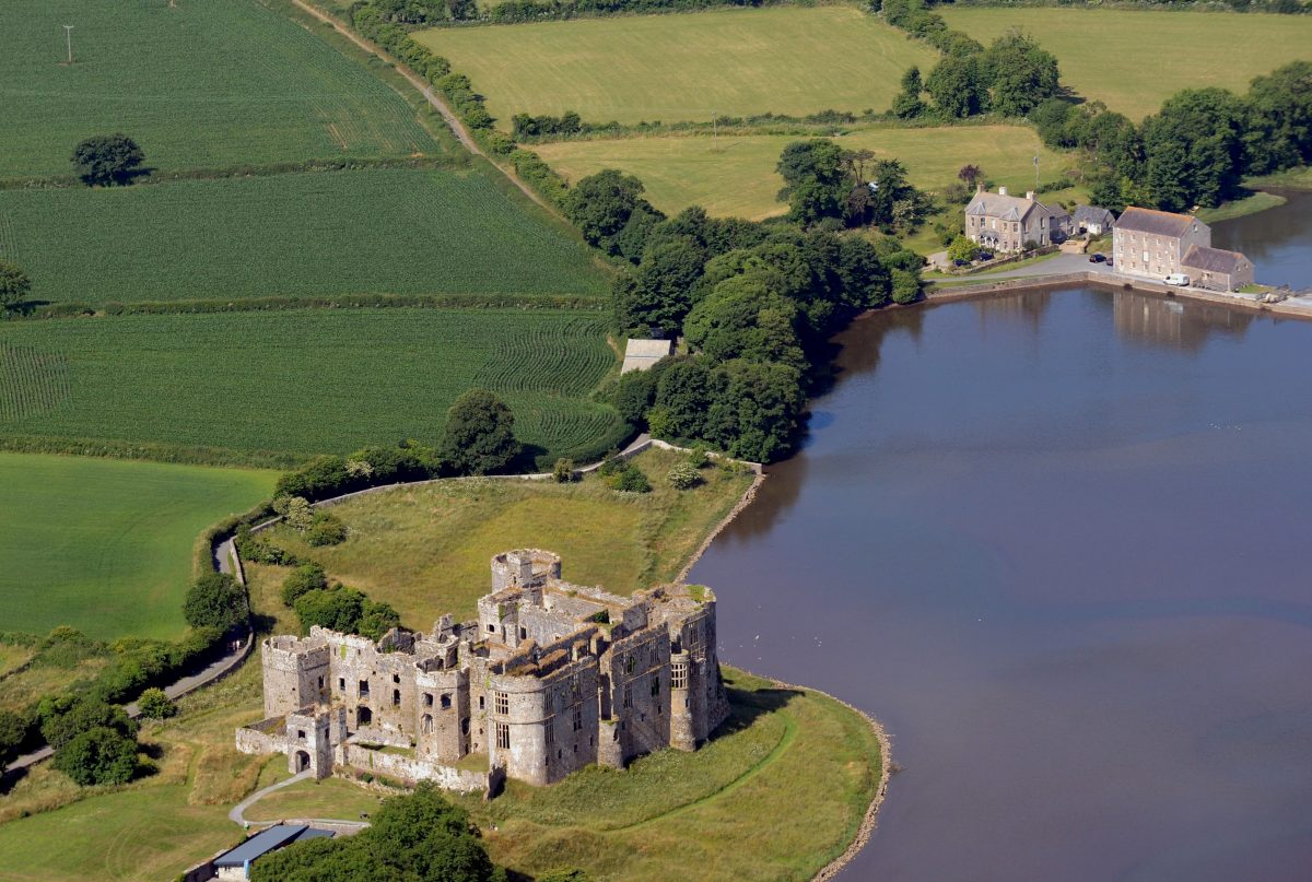 Aerial photograph of Carew Castle and Tidal Mill