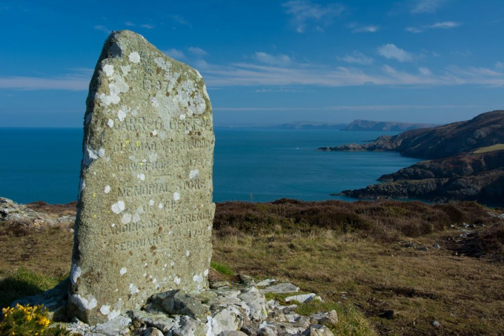 Memorial stone on Carregwastad Point near Fishguard remembering the last invasion of Wales by the French in 1797.