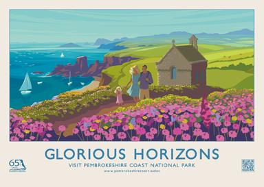 GLORIOUS HORIZONS retro railway poster