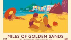 MILES OF GOLDEN SANDS retro railway poster