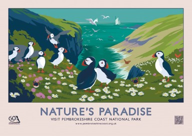 NATURE'S PARADISE retro railway poster