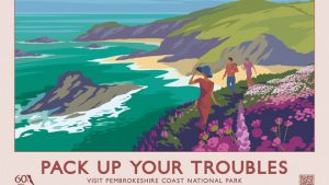 PACK UP YOUR TROUBLES retro railway poster