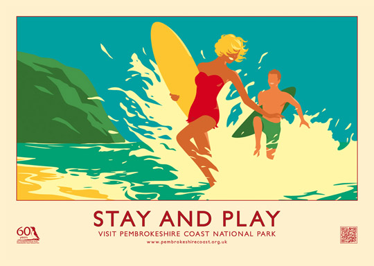 STAY AND PLAY retro railway poster