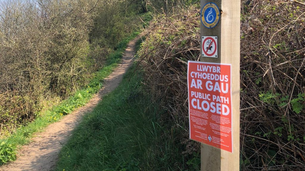 Path closure sign on the Pembrokeshire Coast Path