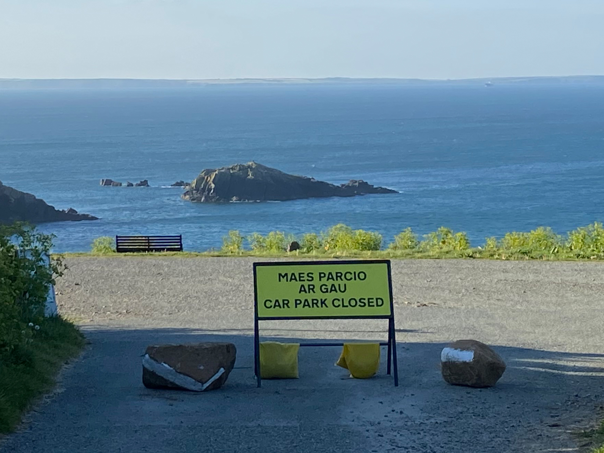 Caerfai Car Park closure sign
