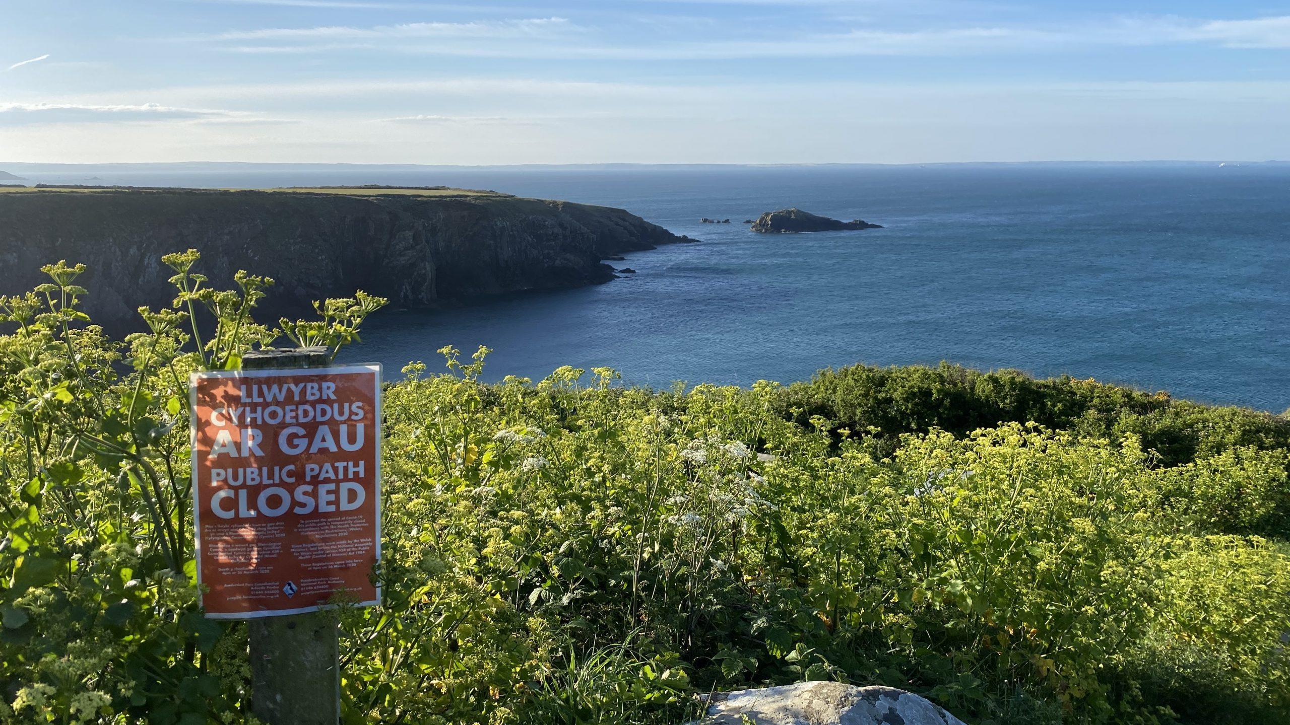 Path closure sign at Caerfai