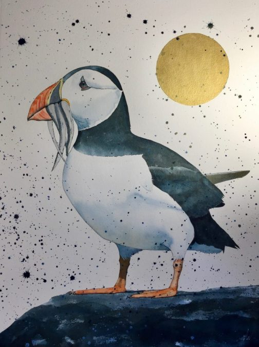 Image of puffin by Anita Woods is a figurative artist inspired by the animals,