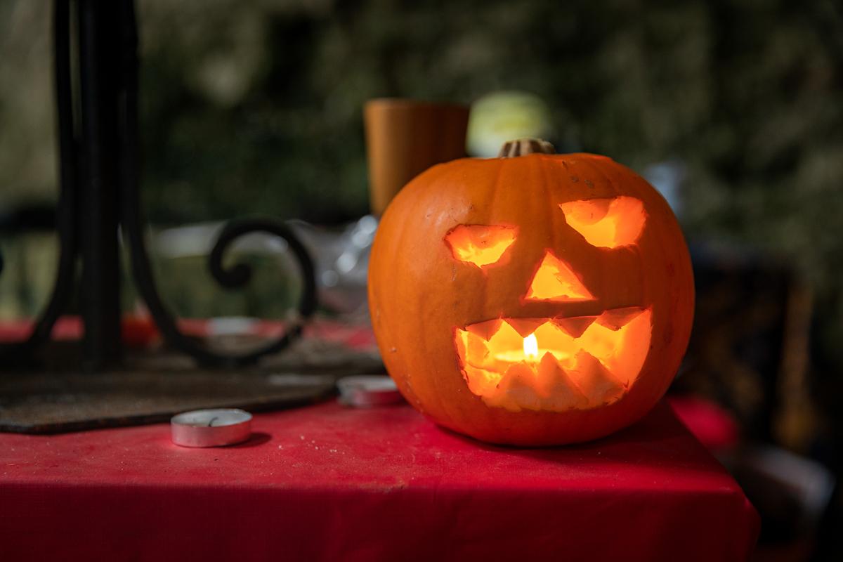 Pumpkin lantern at Carew Castle