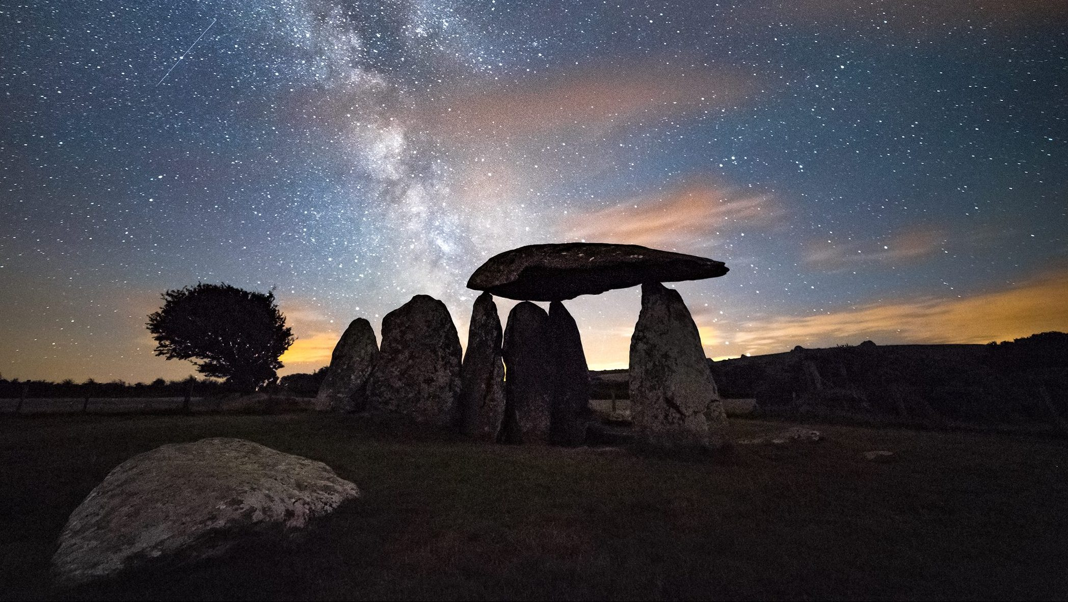 Star trails at Pentre Ifan burial chamber