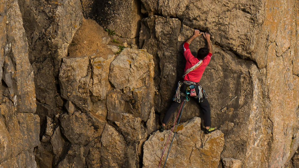 Climber on the Castlemartin Range