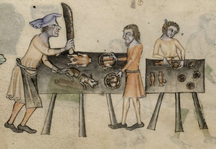 Old illustration showing man in stocks having hands chopped off