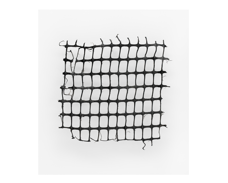 Photograph of a broken piece of plastic grid fencing