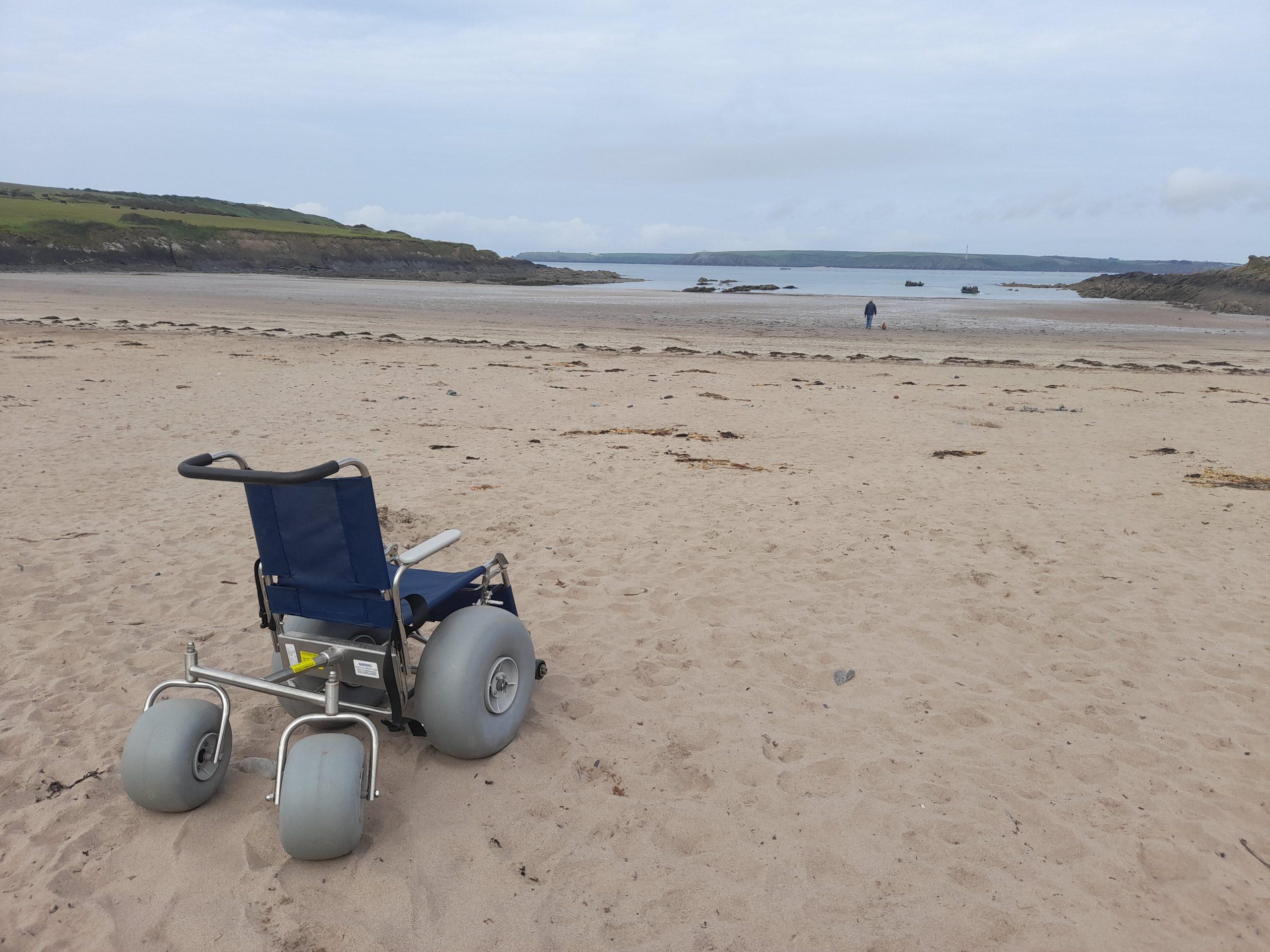 Beach wheelchair on Angle beach