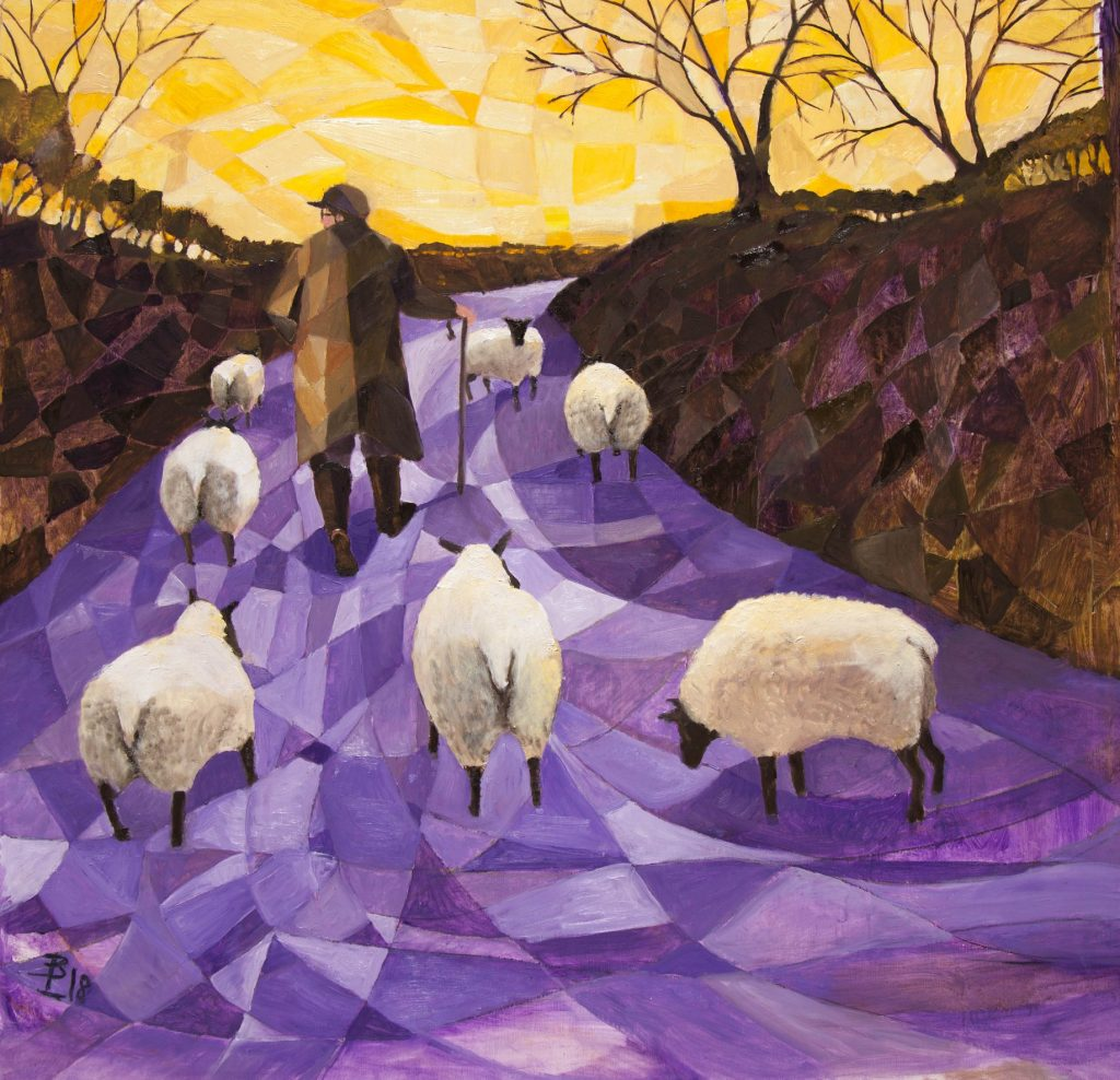 Sheep being led by farmer