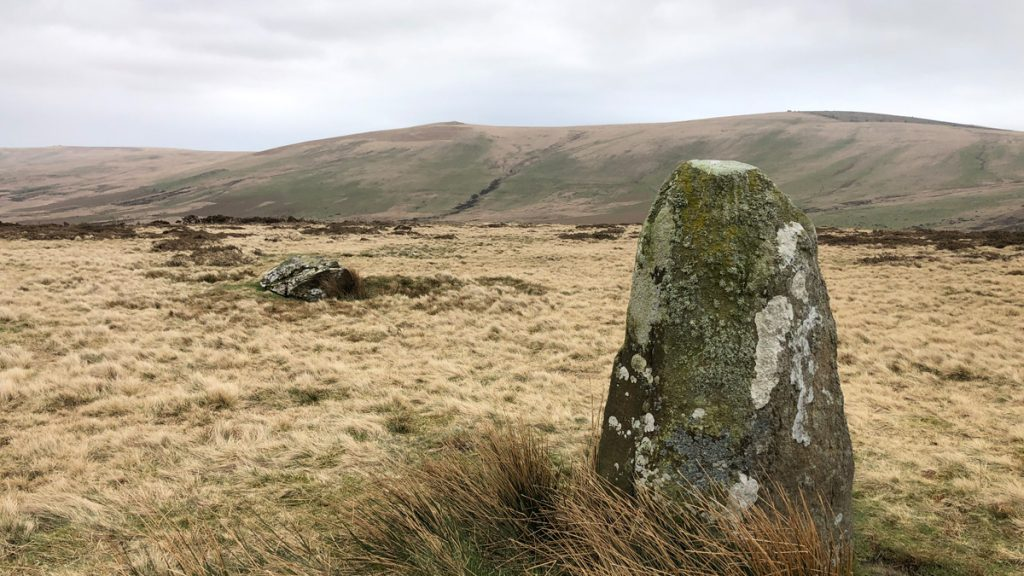 Grey stone protruding from a yellow grassy field with sweeping hills in the background