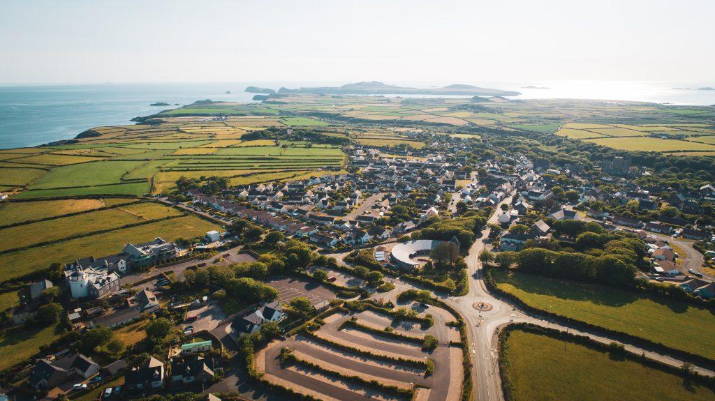 Aerial photograph of a coastal settlement (city of St Davids, Pembrokeshire)